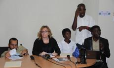 Le Secrétaire d'Etat Gérald Oriol Jr, Alessandra Rossi et Josué Joseph de l'IFES et Nathalie Sauveur, l'une des auditrices.